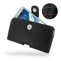 Leather Horizontal Pouch Case with Belt Clip for Samsung Galaxy Note 2 | Samsung Galaxy Note2 | GT-N7100 (Orange Stitch)