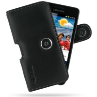 Samsung Galaxy R Leather Holster Case (Black) PDair Premium Hadmade Genuine Leather Protective Case Sleeve Wallet