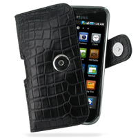 Samsung Galaxy S / Plus Leather Holster Case (Black Croc Pattern) PDair Premium Hadmade Genuine Leather Protective Case Sleeve Wallet