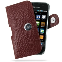 Samsung Galaxy S / Plus Leather Holster Case (Red Croc Pattern) PDair Premium Hadmade Genuine Leather Protective Case Sleeve Wallet