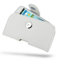 Samsung Galaxy S3 Mini Leather Holster Case (White) PDair Premium Hadmade Genuine Leather Protective Case Sleeve Wallet