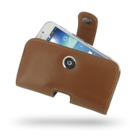 Leather Horizontal Pouch Case with Belt Clip for Samsung Galaxy S4 zoom SM-C1010 (Brown)