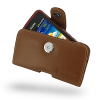 Samsung Galaxy xCcover Leather Holster Case (Brown) PDair Premium Hadmade Genuine Leather Protective Case Sleeve Wallet