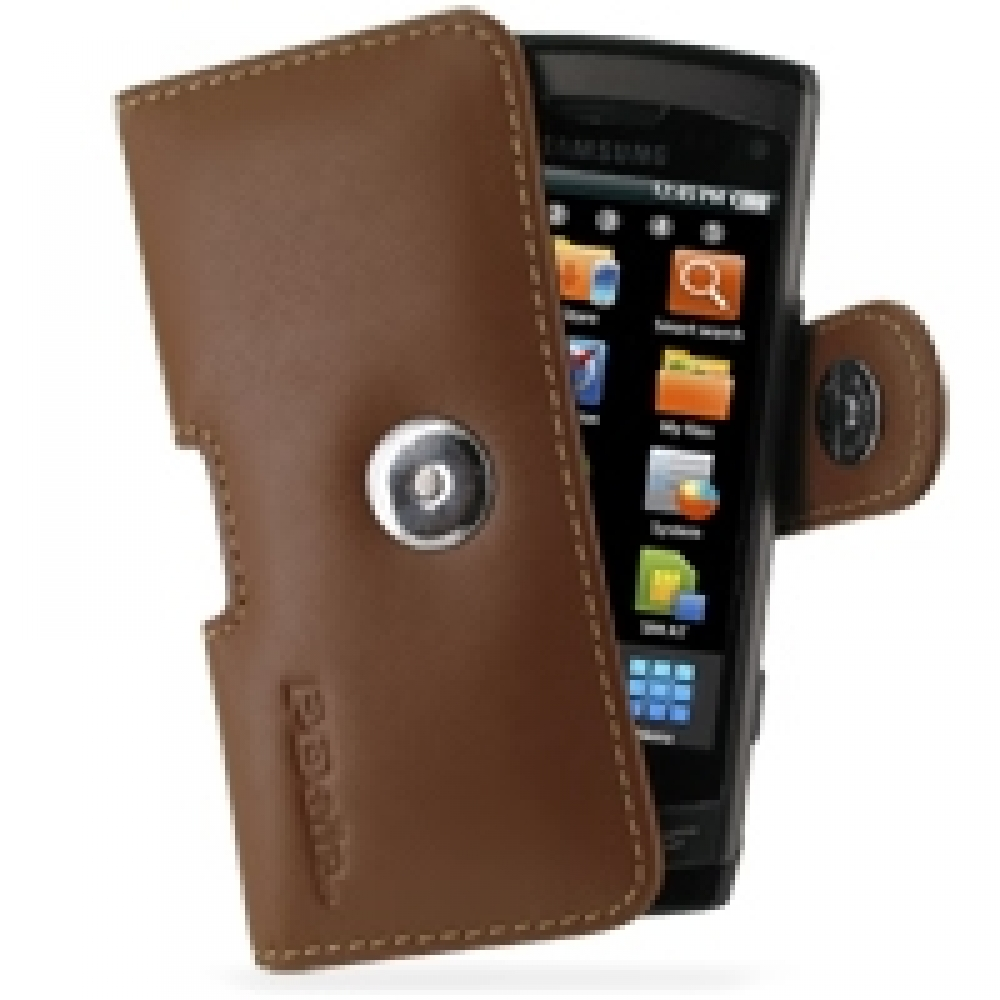 samsung wave gt s8500 leather holster case brown. Black Bedroom Furniture Sets. Home Design Ideas