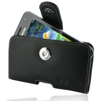 Samsung Wave M Leather Holster Case (Black) PDair Premium Hadmade Genuine Leather Protective Case Sleeve Wallet