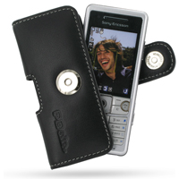 Sony Ericsson C510 Leather Holster Case (Black) PDair Premium Hadmade Genuine Leather Protective Case Sleeve Wallet
