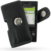 Sony Ericsson G705 Leather Holster Case (Black) PDair Premium Hadmade Genuine Leather Protective Case Sleeve Wallet