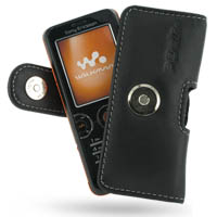 Sony Ericsson W610 Leather Holster Case (Black) PDair Premium Hadmade Genuine Leather Protective Case Sleeve Wallet