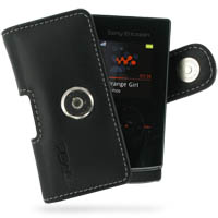 Sony Ericsson W980 Leather Holster Case (Black) PDair Premium Hadmade Genuine Leather Protective Case Sleeve Wallet