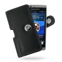 Sony Ericsson Xperia Arc / Arc S Leather Holster Case (Black) PDair Premium Hadmade Genuine Leather Protective Case Sleeve Wallet