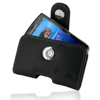 Sony Ericsson Xperia Mini Leather Holster Case (Black) PDair Premium Hadmade Genuine Leather Protective Case Sleeve Wallet
