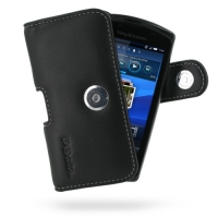 Leather Horizontal Pouch Case with Belt Clip for Sony Ericsson Xperia Play (Black)