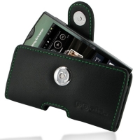 Sony Ericsson Xperia Ray Leather Holster Case (Green Stitch) PDair Premium Hadmade Genuine Leather Protective Case Sleeve Wallet