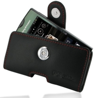 Sony Ericsson Xperia Ray Leather Holster Case (Red Stitch) PDair Premium Hadmade Genuine Leather Protective Case Sleeve Wallet