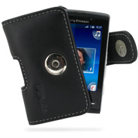 Leather Horizontal Pouch Case with Belt Clip for Sony Ericsson Xperia X10 Mini (Black)