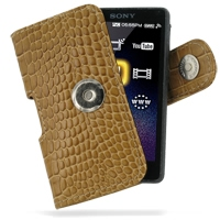 Leather Horizontal Pouch Case with Belt Clip for Sony Walkman NWZ-X1050 NWZ-X1060 NWZ-X1000 (Brown Crocodile Pattern)
