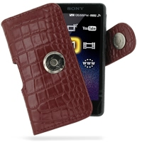 Leather Horizontal Pouch Case with Belt Clip for Sony Walkman NWZ-X1050 NWZ-X1060 NWZ-X1000 (Red Crocodile Pattern)