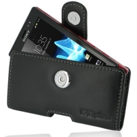 Leather Horizontal Pouch Case with Belt Clip for Sony Xperia Sola MT27i (Black)