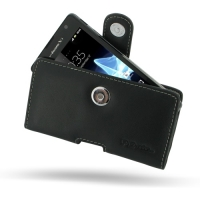 Sony Xperia TX Leather Holster Case (Black) PDair Premium Hadmade Genuine Leather Protective Case Sleeve Wallet