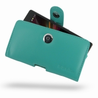 Leather Horizontal Pouch Case with Belt Clip for Sony Xperia Z L36H (Aqua)