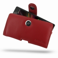 Leather Horizontal Pouch Case with Belt Clip for Sony Xperia Z L36H (Red)