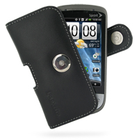 Leather Horizontal Pouch Case with Belt Clip for Sprint HTC Hero (Black)