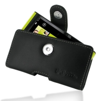 Leather Horizontal Pouch Case with Belt Clip for Toshiba IS12T (Black)
