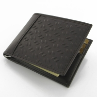 Leather Money Clip & Card Wallet (Brown Metal Pattern) PDair Premium Hadmade Genuine Leather Protective Case Sleeve Wallet