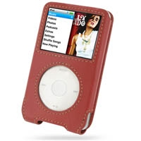 iPod Classic 2nd Leather Sleeve Case (Red) PDair Premium Hadmade Genuine Leather Protective Case Sleeve Wallet