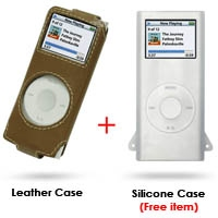 iPod nano 2nd Leather Sleeve Case (Brown) PDair Premium Hadmade Genuine Leather Protective Case Sleeve Wallet