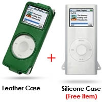 iPod nano 2nd Leather Sleeve Case (Green) PDair Premium Hadmade Genuine Leather Protective Case Sleeve Wallet