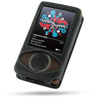 Leather Sleeve Case for Microsoft Zune (Black) Ver. 2