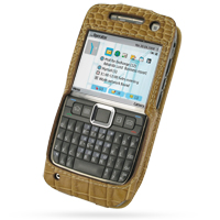 Leather Sleeve Case for Nokia E71 (Brown Crocodile Pattern)