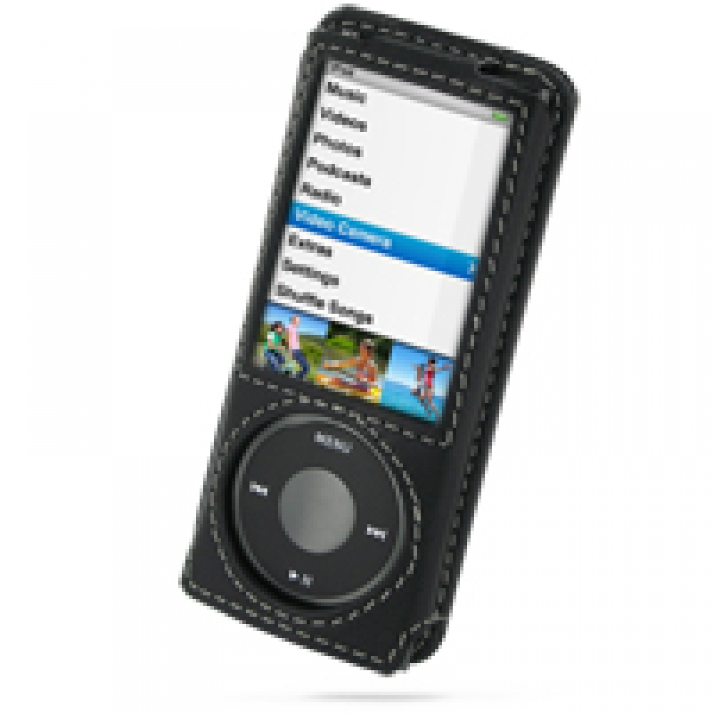 ipod nano 5th leather sleeve case with clip black. Black Bedroom Furniture Sets. Home Design Ideas