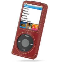 Leather Sleeve Case with Neck Strap for Apple New iPod nano 4th (Red)