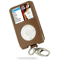 iPod Classic 2nd Leather Sleeve Case with Clip (Brown) PDair Premium Hadmade Genuine Leather Protective Case Sleeve Wallet