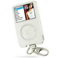 Leather Sleeve Case with Removable Metal Clip for Apple New iPod Classic 2nd (120GB/160GB) (White)