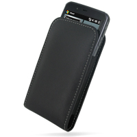 Leather Vertical Pouch Belt Clip Case for Acer Tempo F900 (Black)