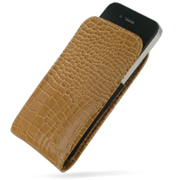 Leather Vertical Pouch Belt Clip Case for Apple iPhone 4 | iPhone 4s (Brown Crocodile Pattern)