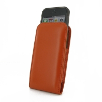 Leather Vertical Pouch Belt Clip Case for Apple iPhone 5 | iPhone 5s ( Compatible with 1.0 mm Slim Case / Cover on ) (Orange)