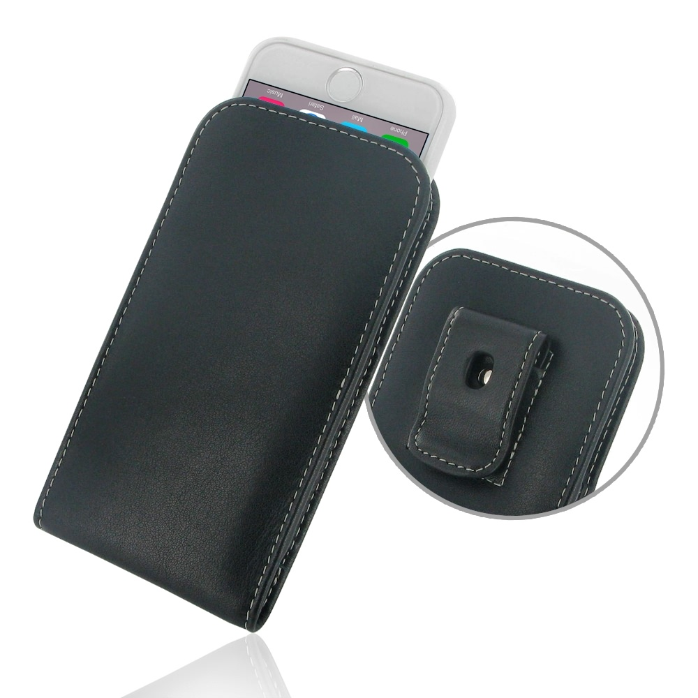 iPhone 6 6s (in Slim Cover) Pouch Clip Case PDair Premium Hadmade Genuine Leather Protective Case Sleeve Wallet