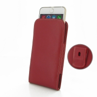 Leather Vertical Pouch Belt Clip Case for Apple iPhone 6 Plus | iPhone 6s Plus ( Compatible with 1.0 mm Slim Case / Cover on ) (Red)