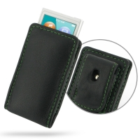 Leather Vertical Pouch Belt Clip Case for Apple iPod nano 8th / iPod nano 7th Generation (Green Stitch)