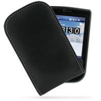 Leather Vertical Pouch Belt Clip Case for Asus P565 (Black)