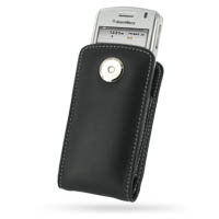 Leather Vertical Pouch Belt Clip Case for BlackBerry 8130 8120 (Black)
