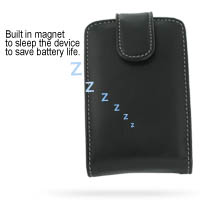 Leather Vertical Pouch Belt Clip Case for BlackBerry 8700 (Black)