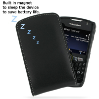 Leather Vertical Pouch Belt Clip Case for BlackBerry Curve 8350i (Black)