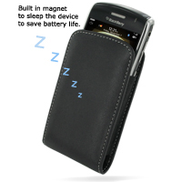 Leather Vertical Pouch Belt Clip Case for BlackBerry Curve 8900 Javelin (Black)