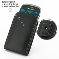 BlackBerry Curve 9320 Pouch Case with Belt Clip (Black) PDair Premium Hadmade Genuine Leather Protective Case Sleeve Wallet
