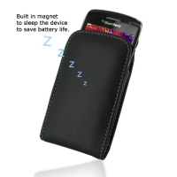 Leather Vertical Pouch Belt Clip Case for BlackBerry Curve 9350 9360 9370 (Black)
